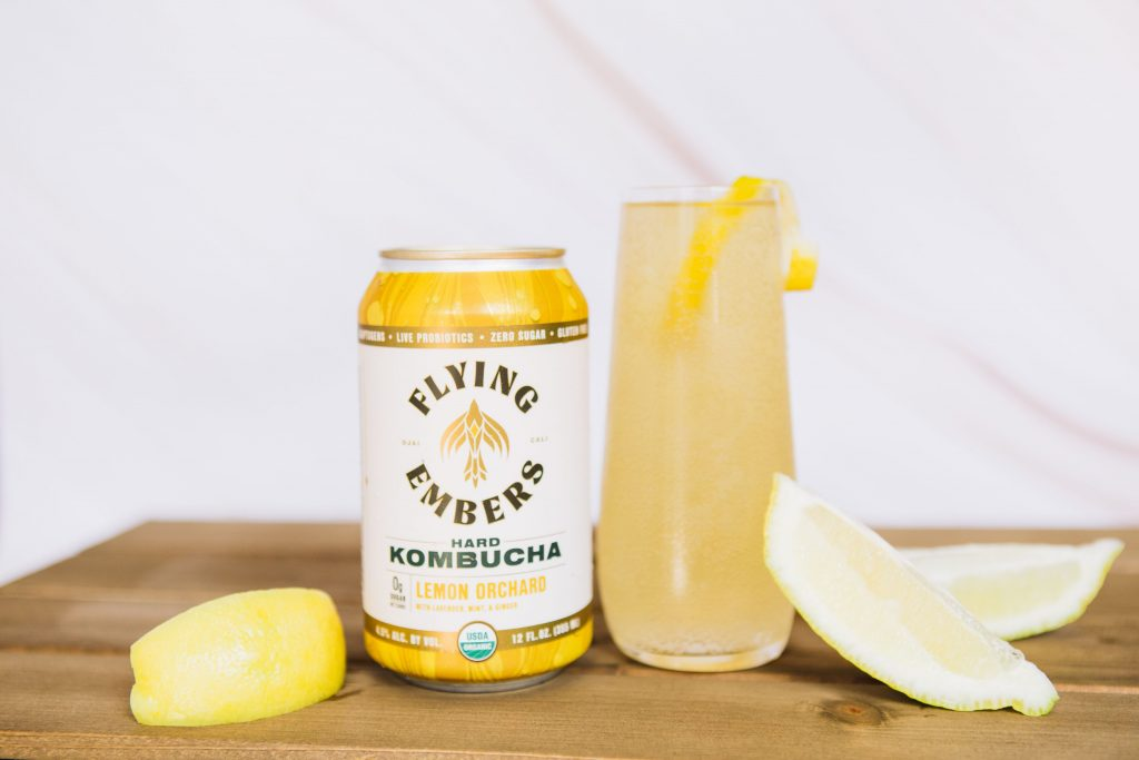 Fermented 75: Sparkling cocktail that includes Champagne and Flying Embers Hard Kombucha
